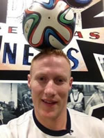 "Dan Magness with the ""Brazuka"" World Cup football"